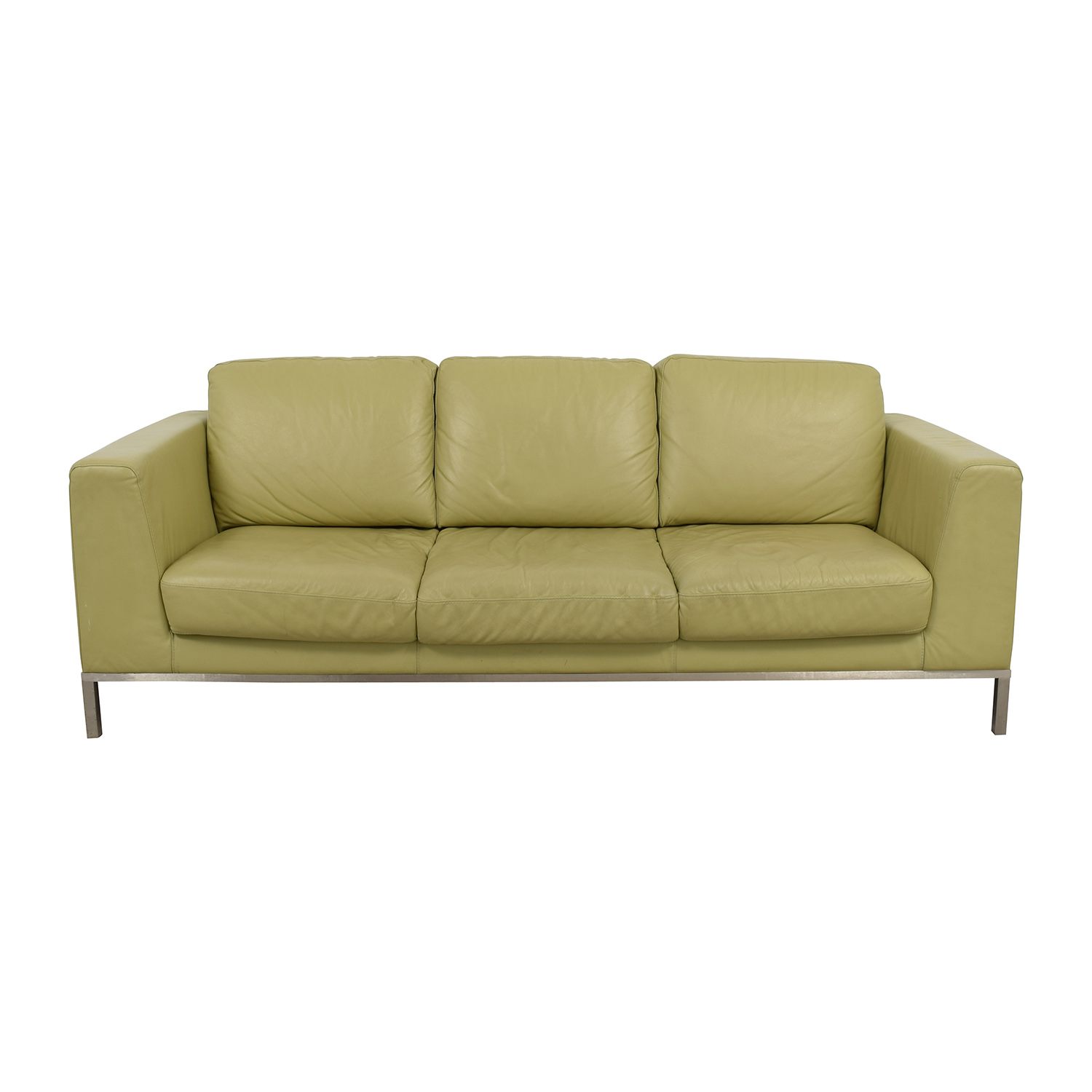 26% OFF - Natuzzi Italsofa Green Leather Sofa / Sofas