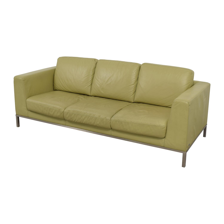 26% OFF - Natuzzi Italsofa Green Leather Sofa / Sofas