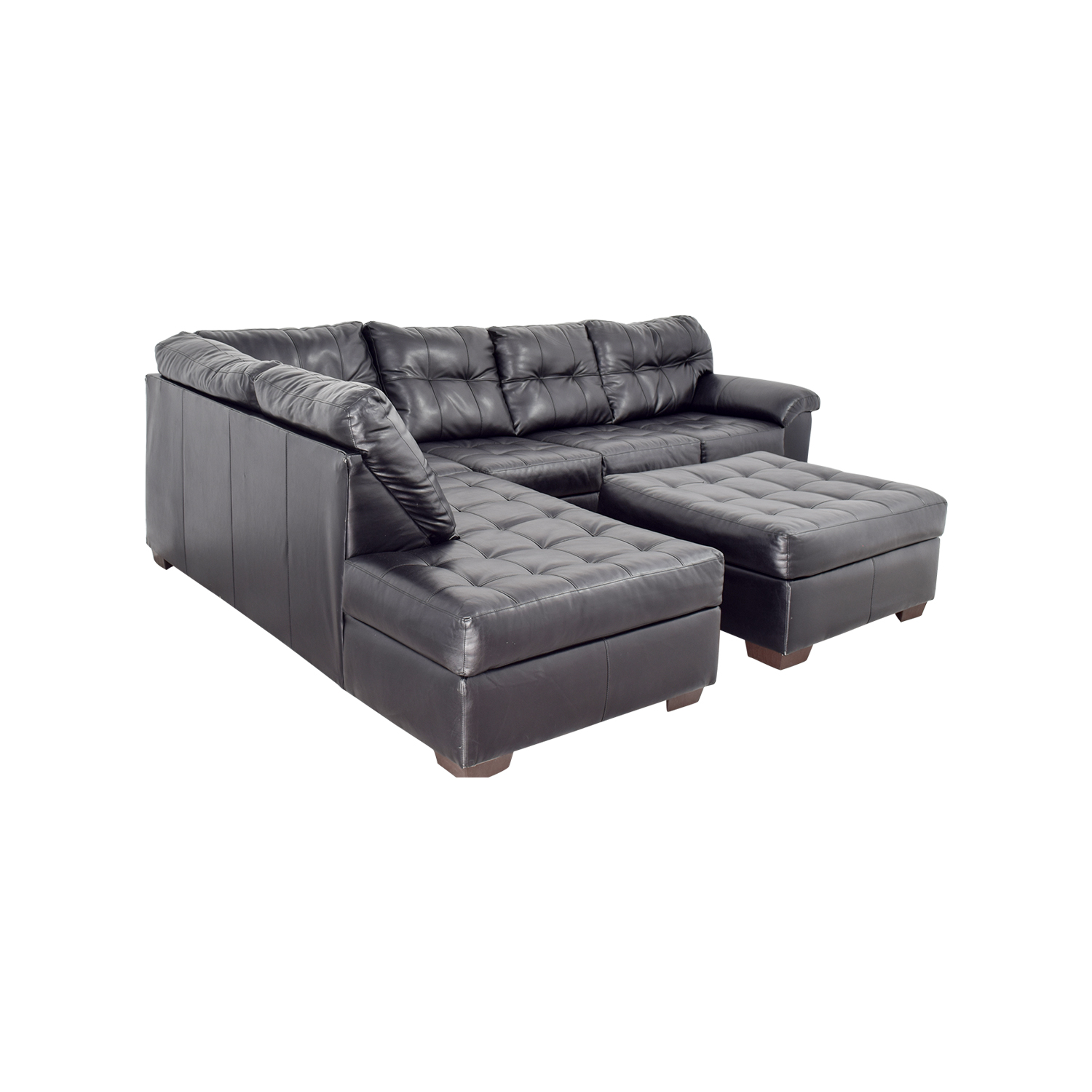 Shop Black Leather Tufted Sectional Sofa And Ottoman Sofas
