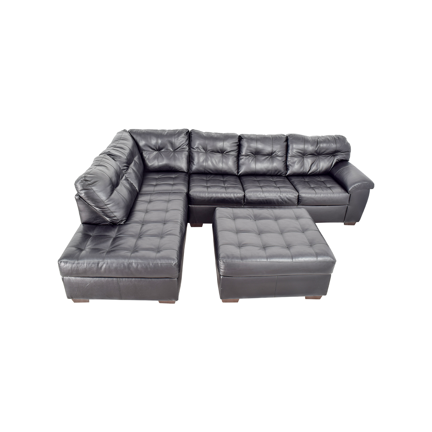 Wondrous 81 Off Black Leather Tufted Sectional Sofa And Ottoman Sofas Frankydiablos Diy Chair Ideas Frankydiabloscom