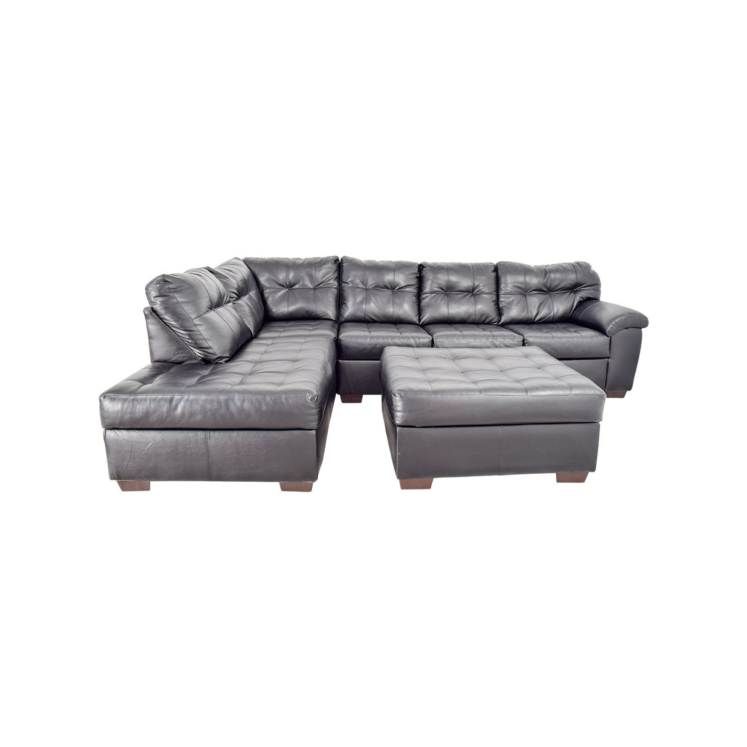 81% OFF - Black Leather Tufted Sectional Sofa and Ottoman / Sofas