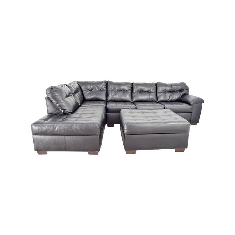 Black Leather Tufted Sectional Sofa and Ottoman second hand