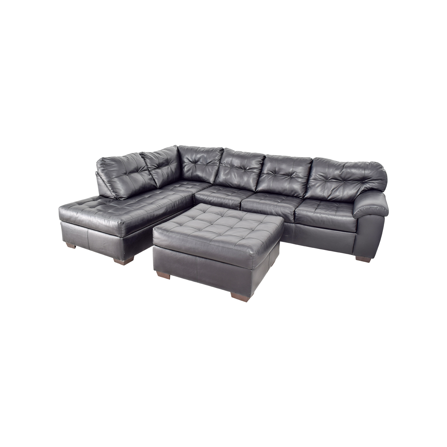 48% OFF Black Leather Tufted Sectional Sofa and Ottoman Sofas