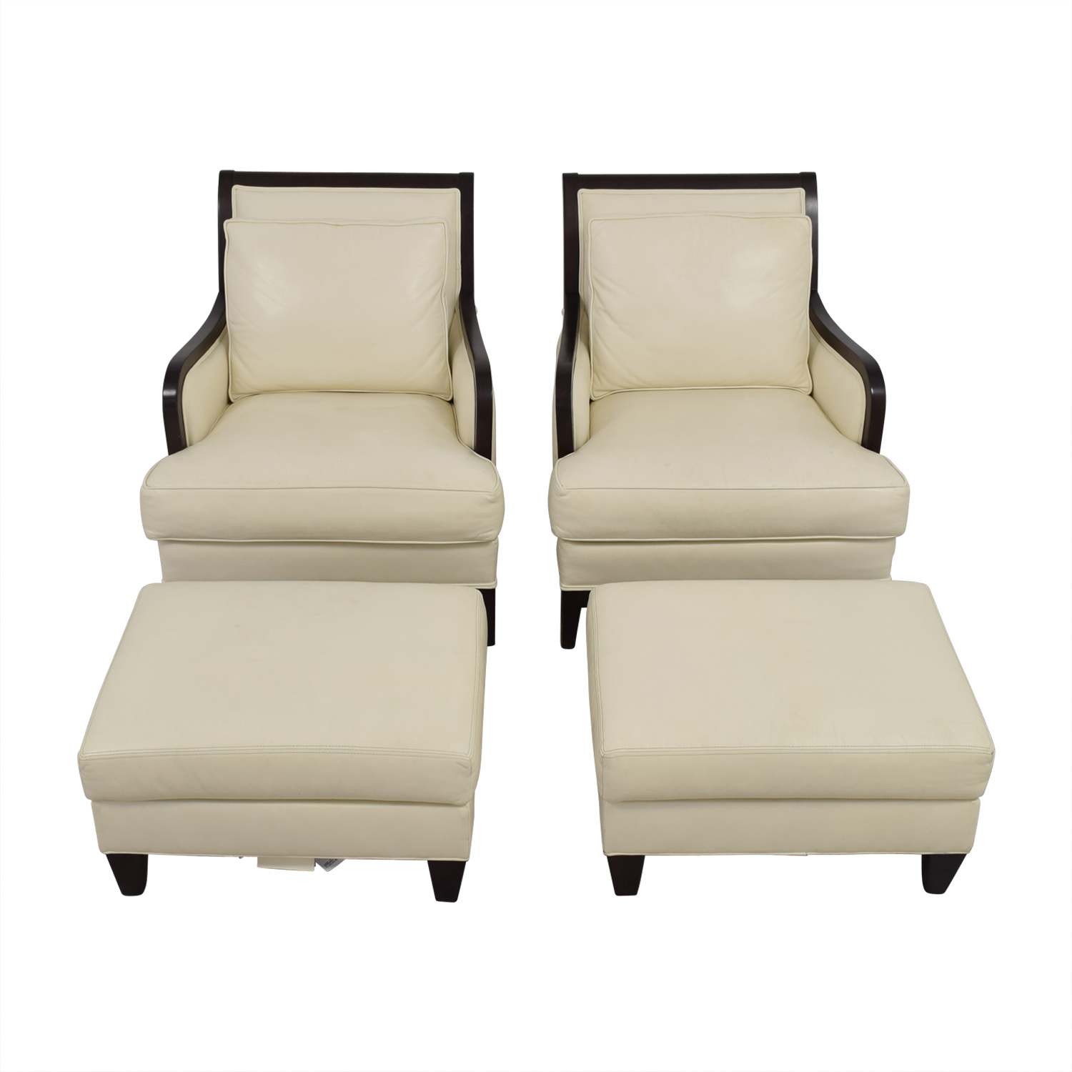 Ethan Allen Ethan Allen Palma Ivory Leather Chairs with Ottomans nj