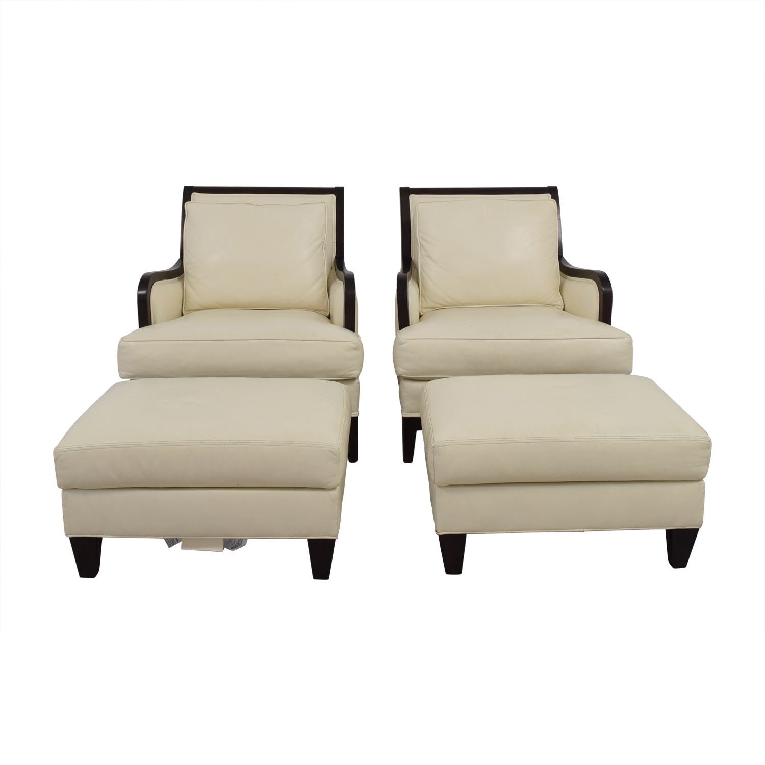 Ethan Allen Ethan Allen Palma Ivory Leather Chairs with Ottomans Accent Chairs