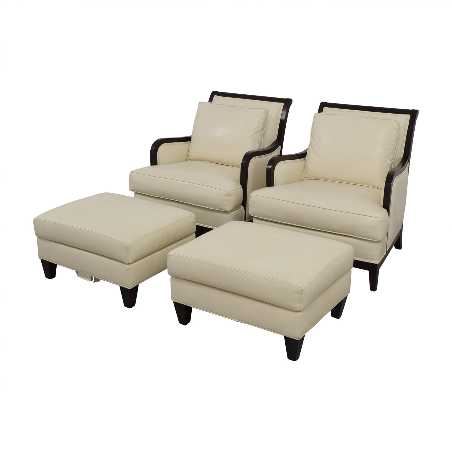 Ethan Allen Ethan Allen Palma Ivory Leather Chairs with Ottomans for sale
