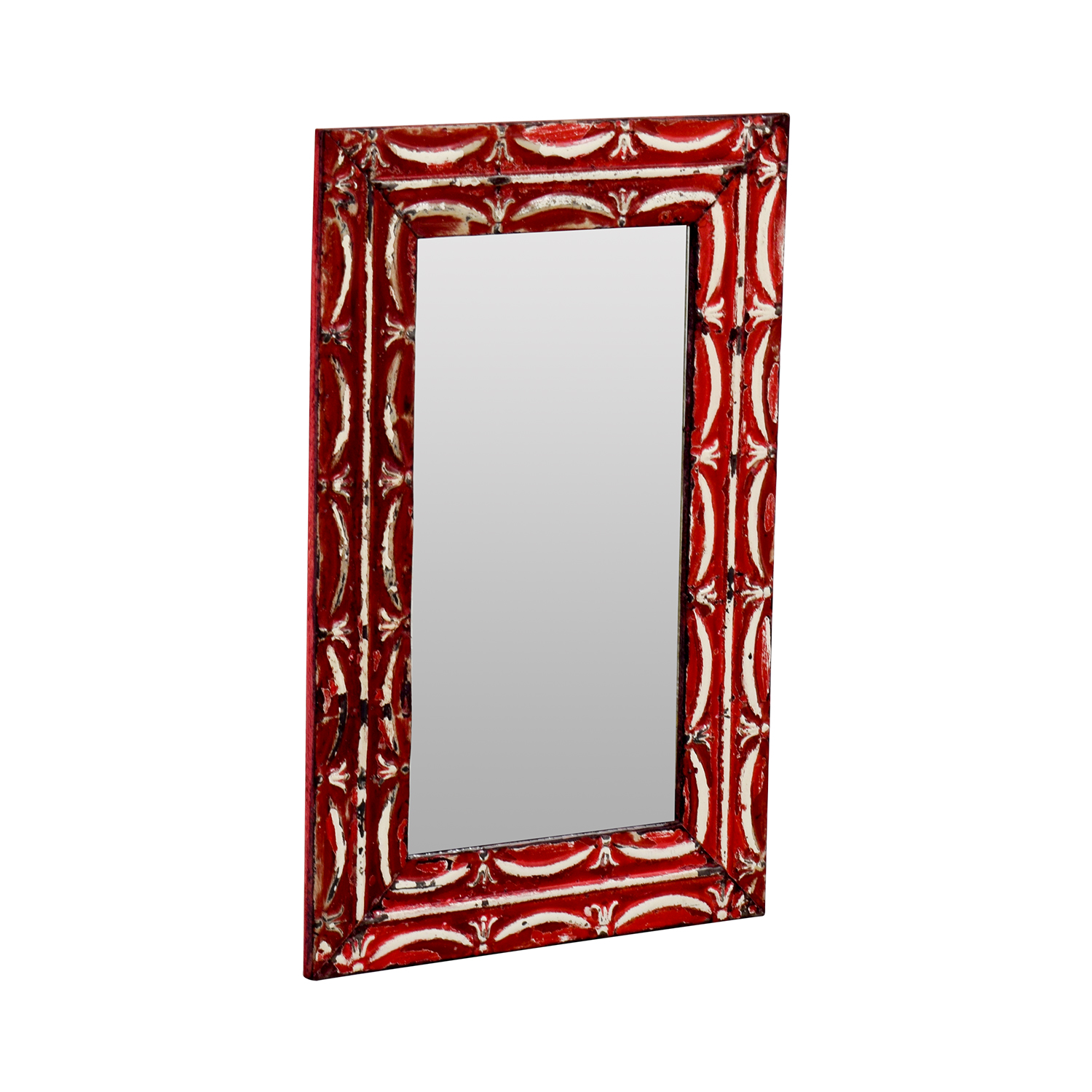 Olde Good Things Antique Red Tin Frame Mirror / Mirrors