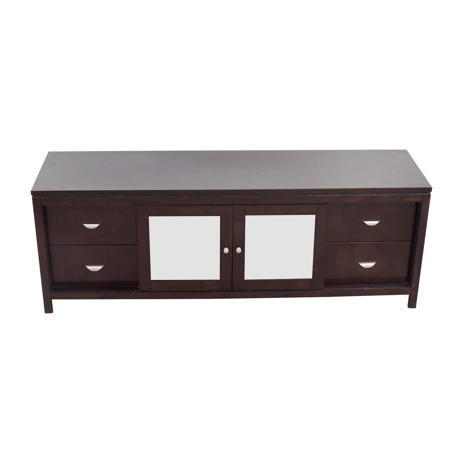 Abbyson Clarkston Abbyson Clarkston Wood & Glass TV Console Mahogany