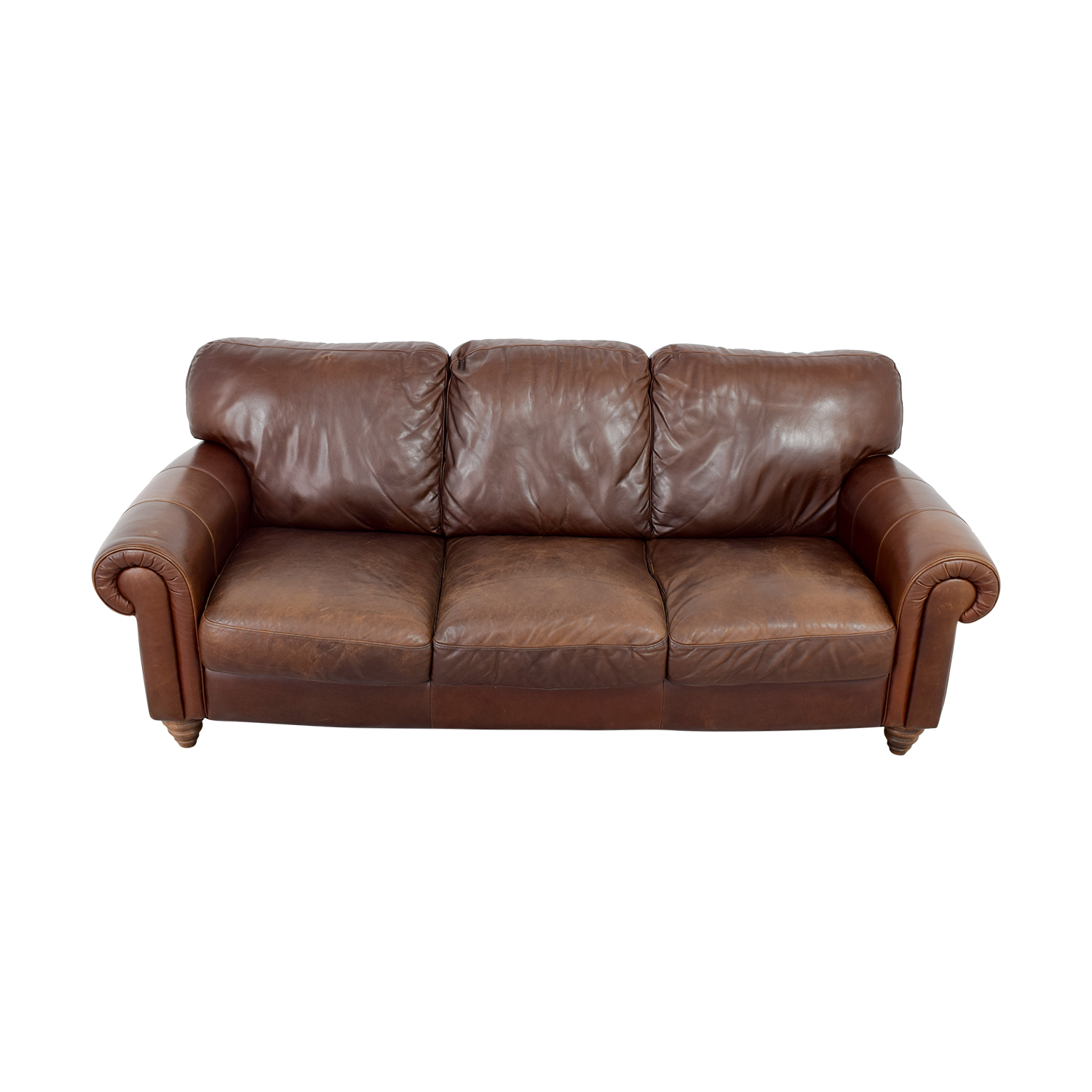 shop Brown Three-Cushion Leather Couch online