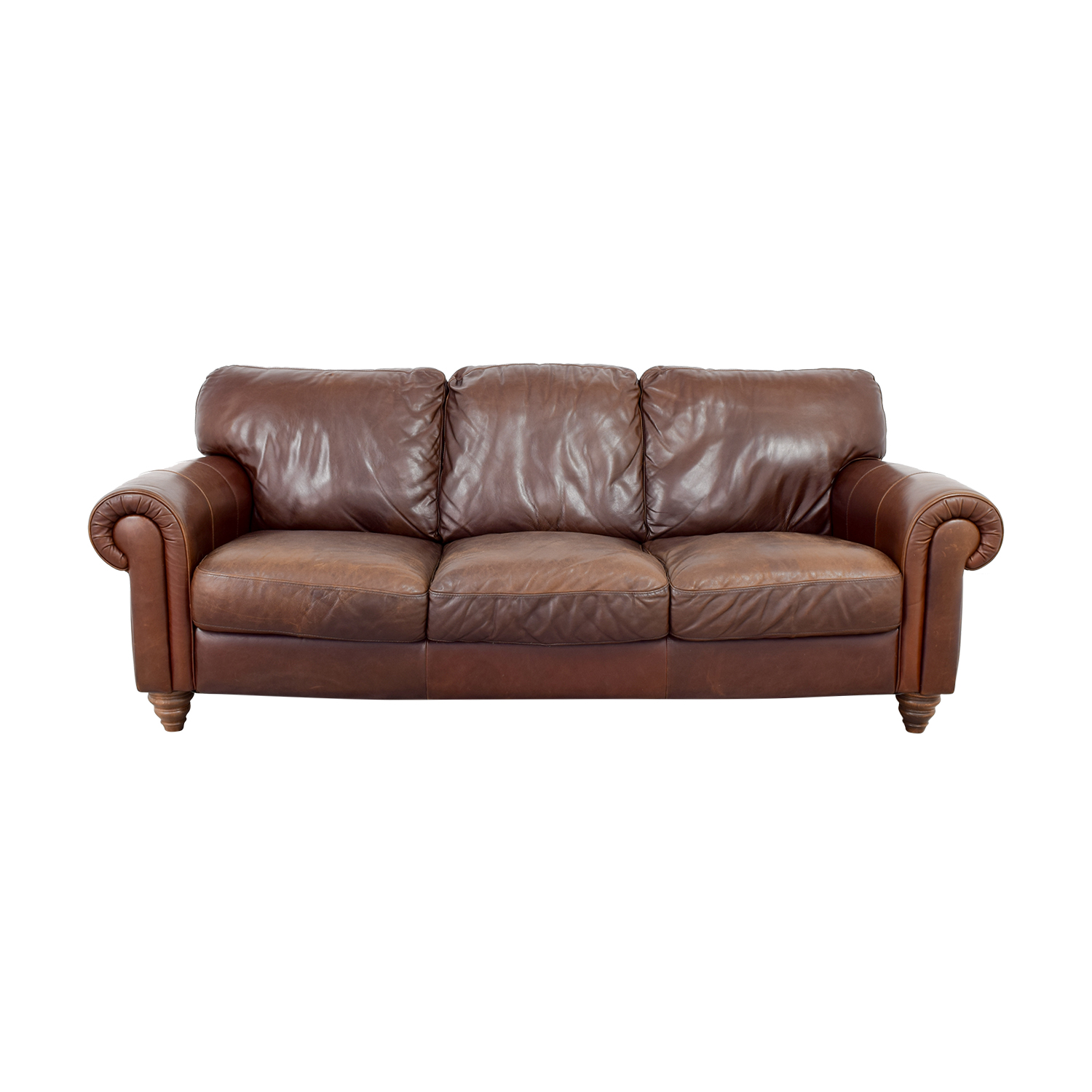 shop Brown Three-Cushion Leather Couch Sofas