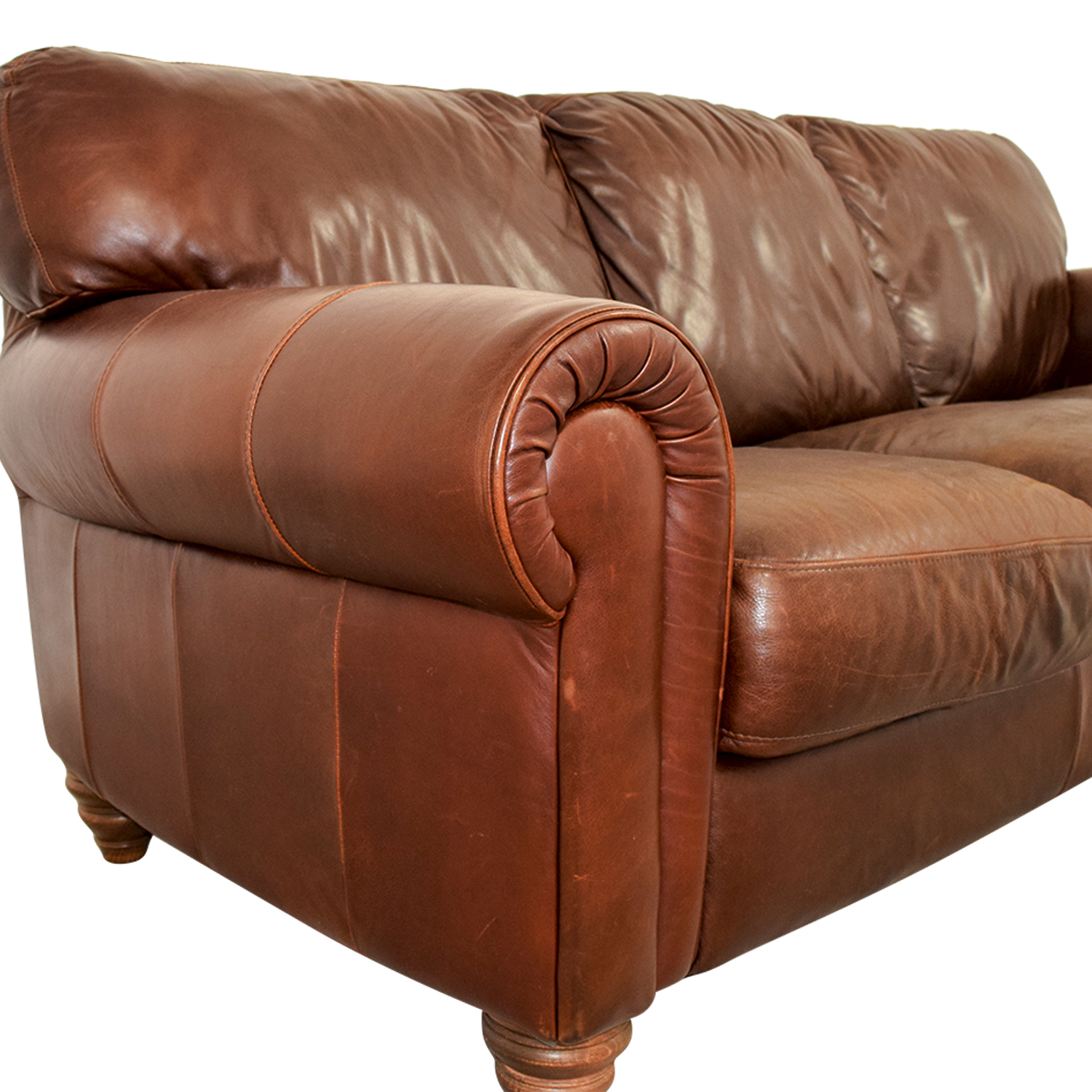 Second Hand Leather Sofas In Redditch: Brown Three-Cushion Leather Couch / Sofas