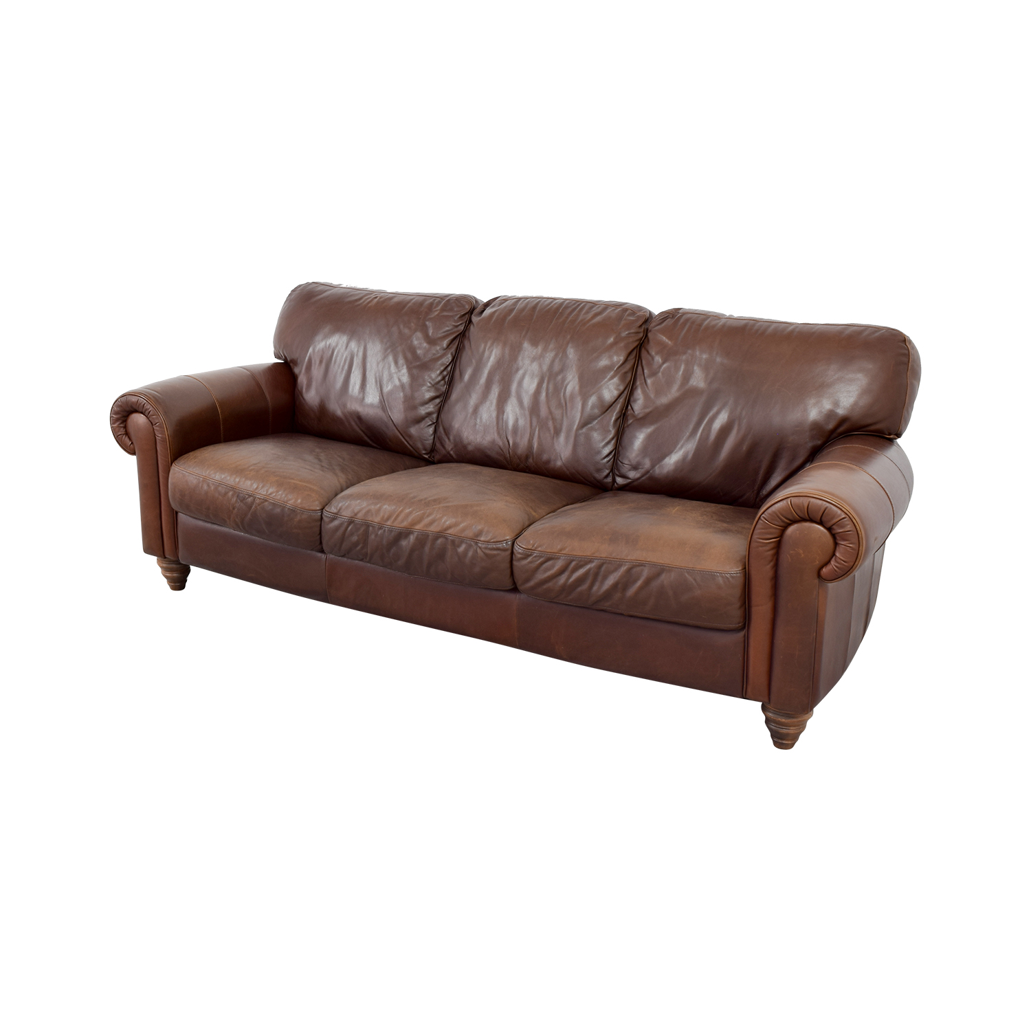 ... Buy Brown Three Cushion Leather Couch ...
