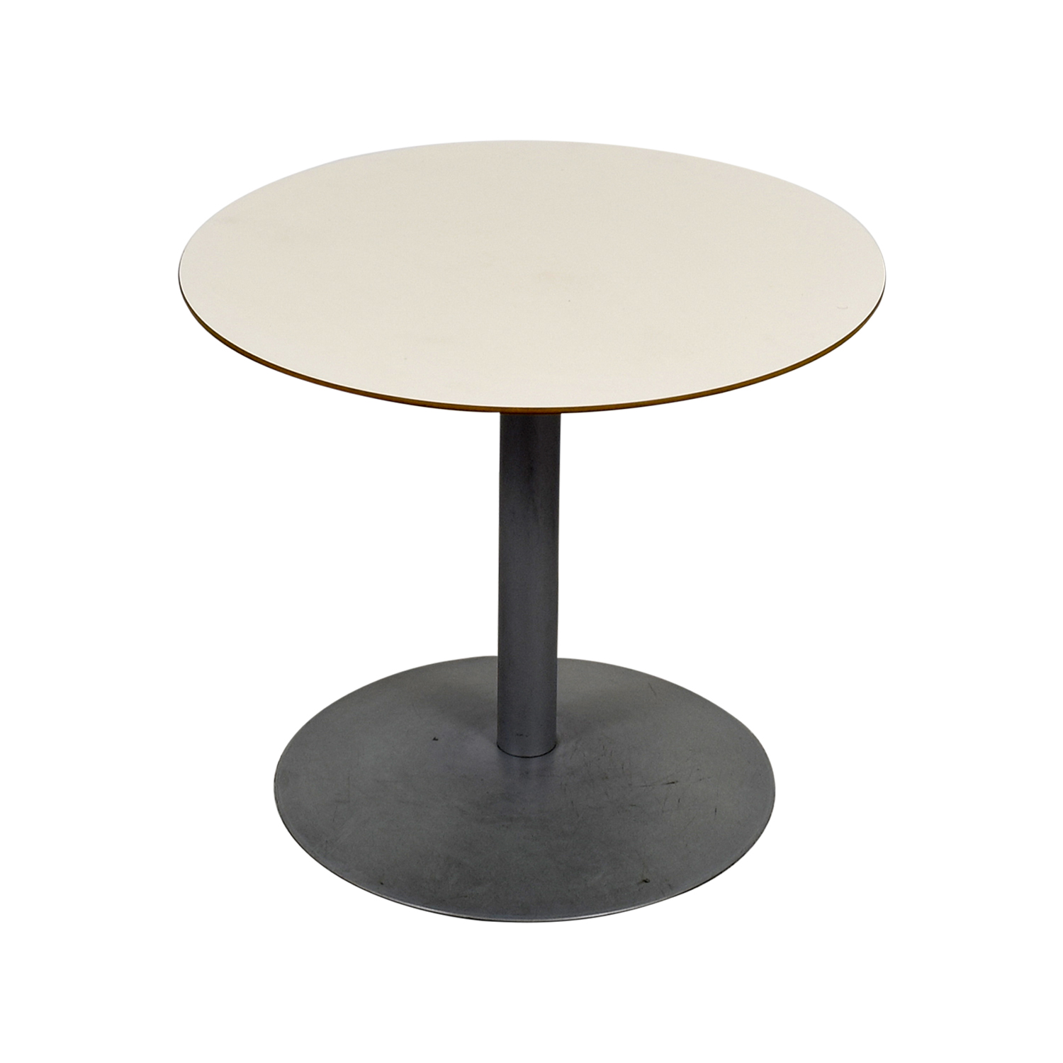 White Round Table with Pedestal Base nj