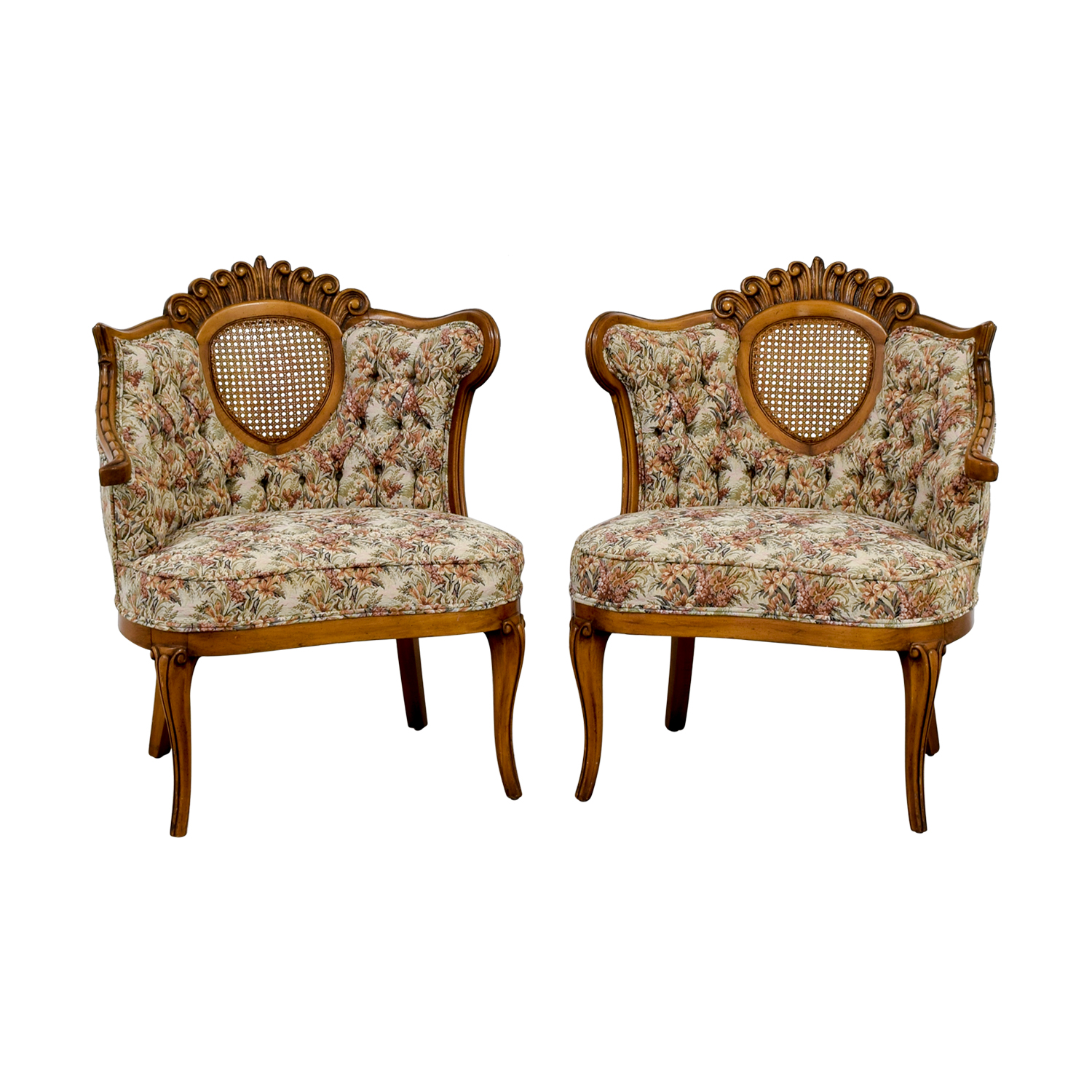 French Provincial Floral with Honeycomb Accent Chairs second hand