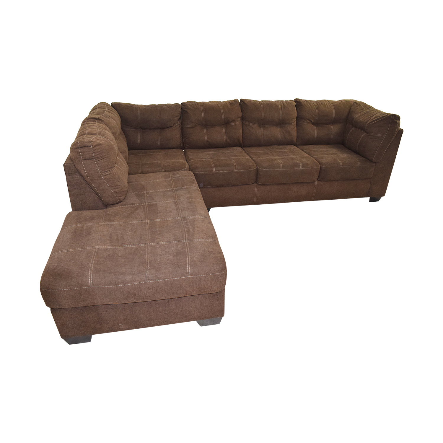 64 off brown l shaped chaise sectional sofa sofas for Brown leather chaise end sofa