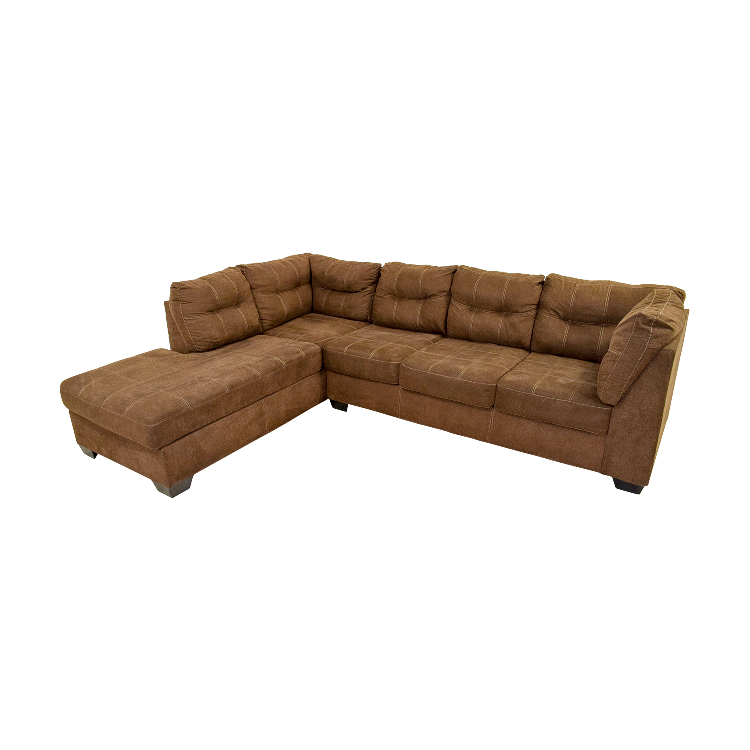 Brown L-Shaped Chaise Sectional Sofa for sale