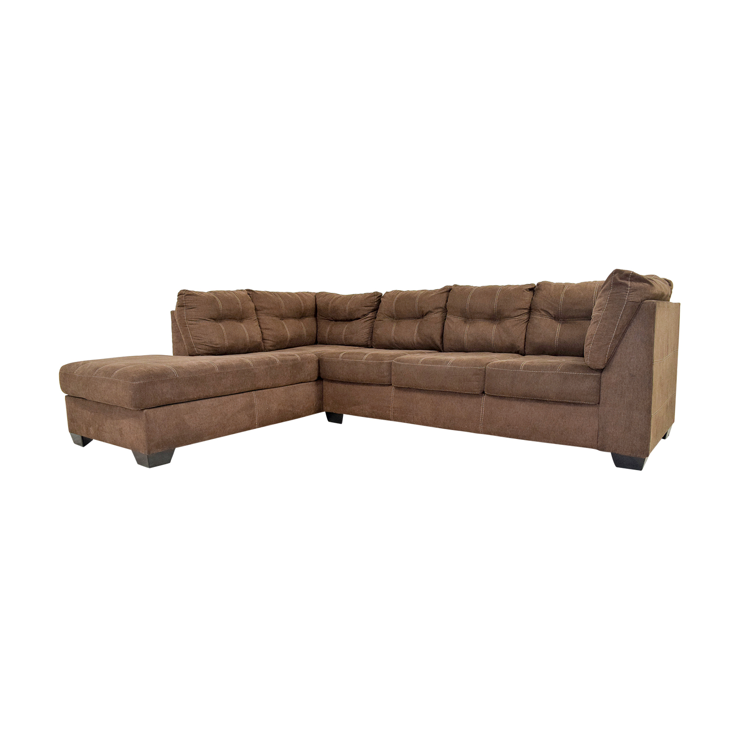 45% OFF Brown L Shaped Chaise Sectional Sofa Sofas