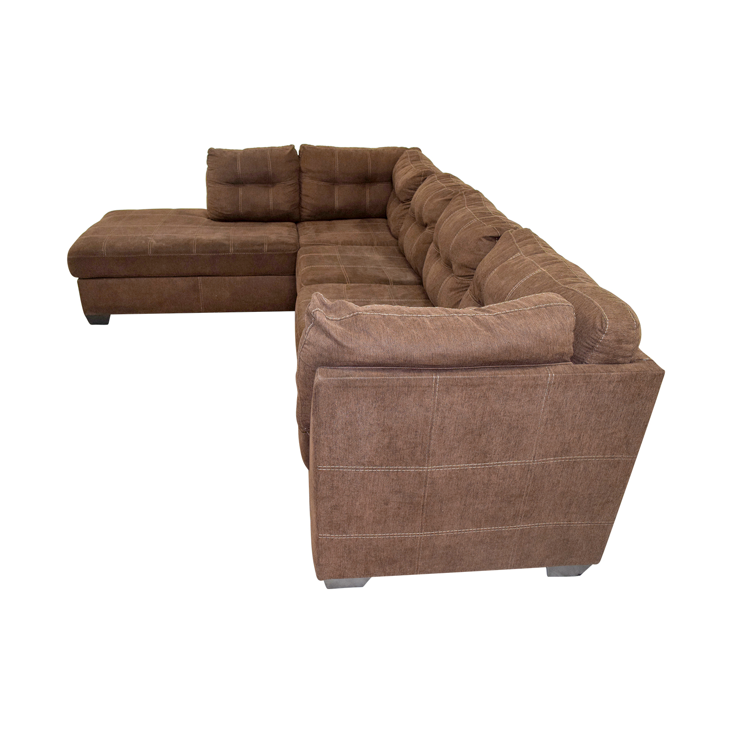 Used Sofas Online: Brown L-Shaped Chaise Sectional Sofa / Sofas