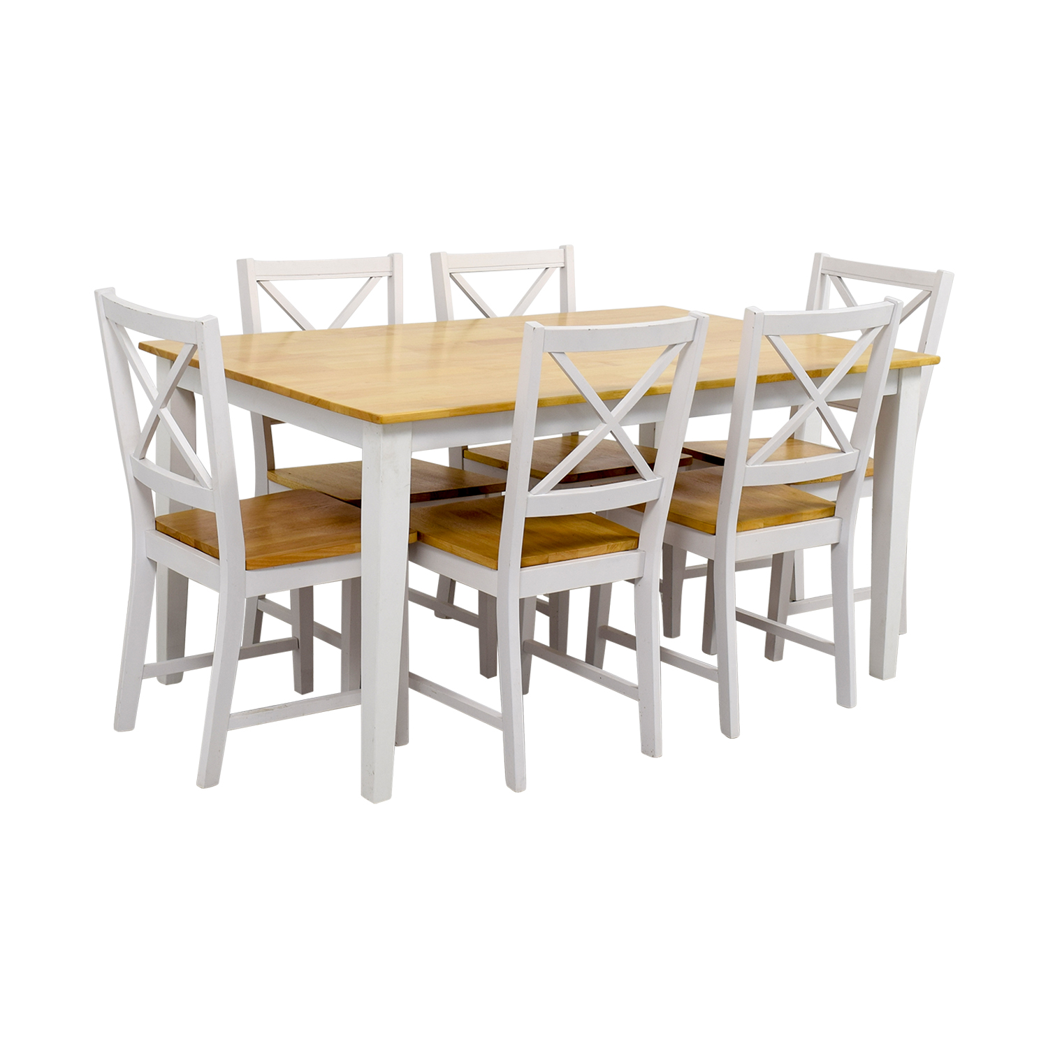 Beech Wood and White Dining Set nj