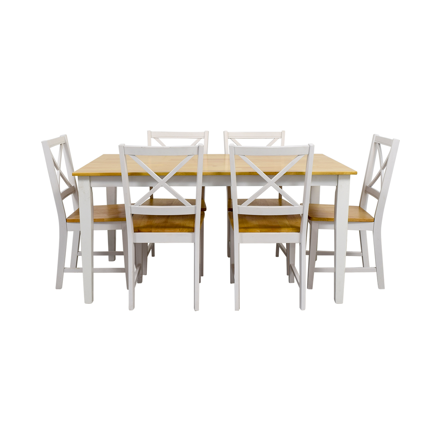 Beech Wood and White Dining Set sale