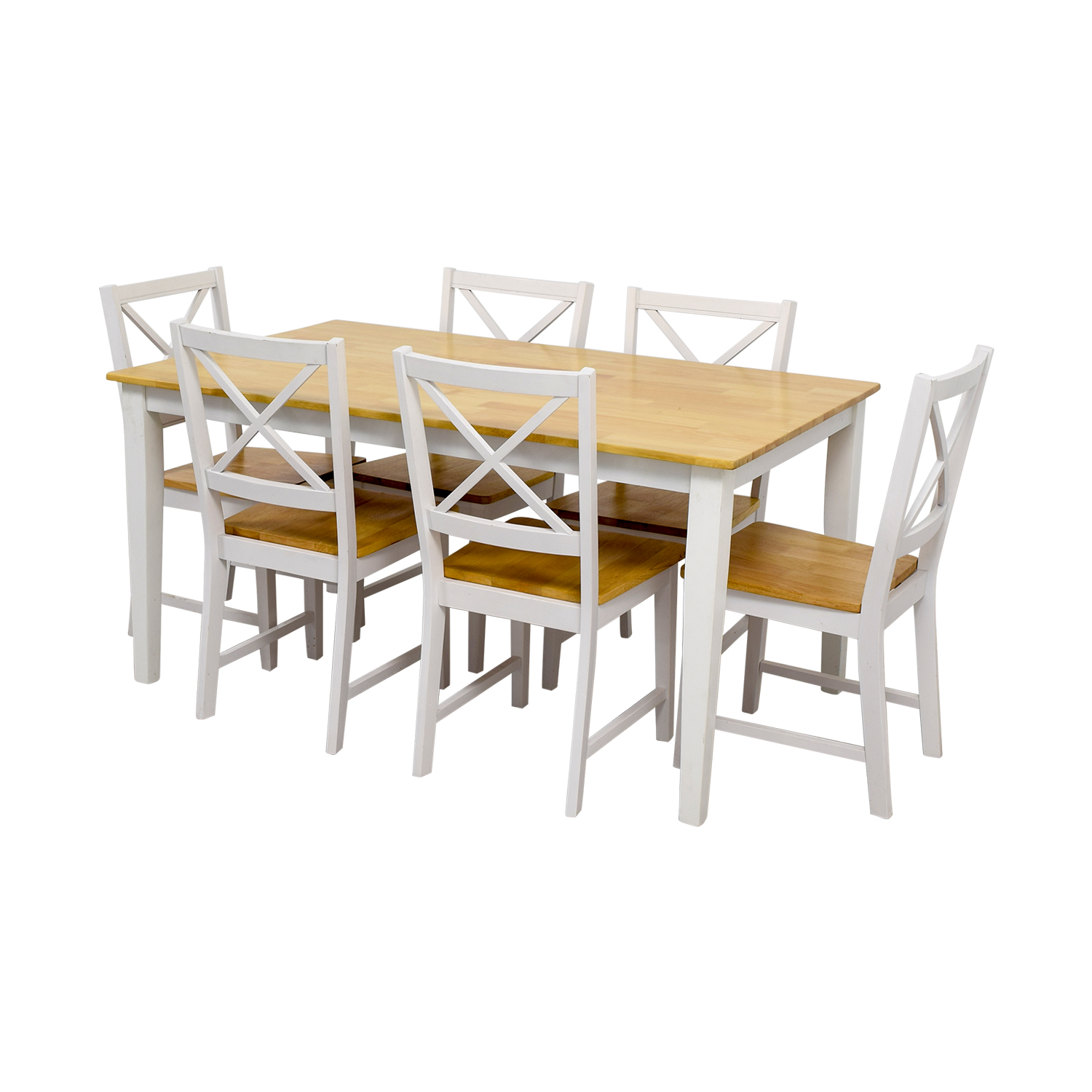 Beech Wood and White Dining Set