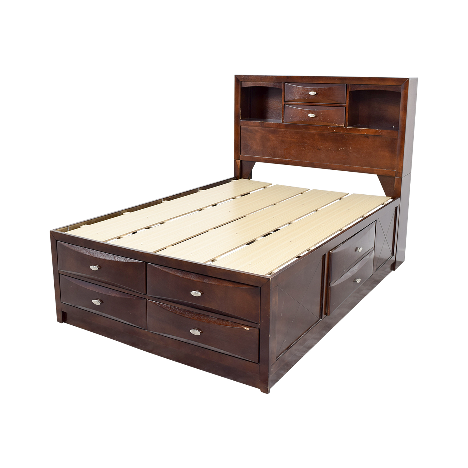 Acme Louis Philippe III Cherry Queen Drawer and Bookcase Bed Acme