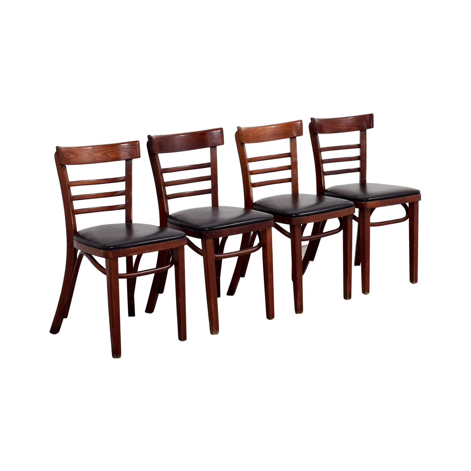 63% OFF Wood and Black Leather Upholstered Chairs Chairs