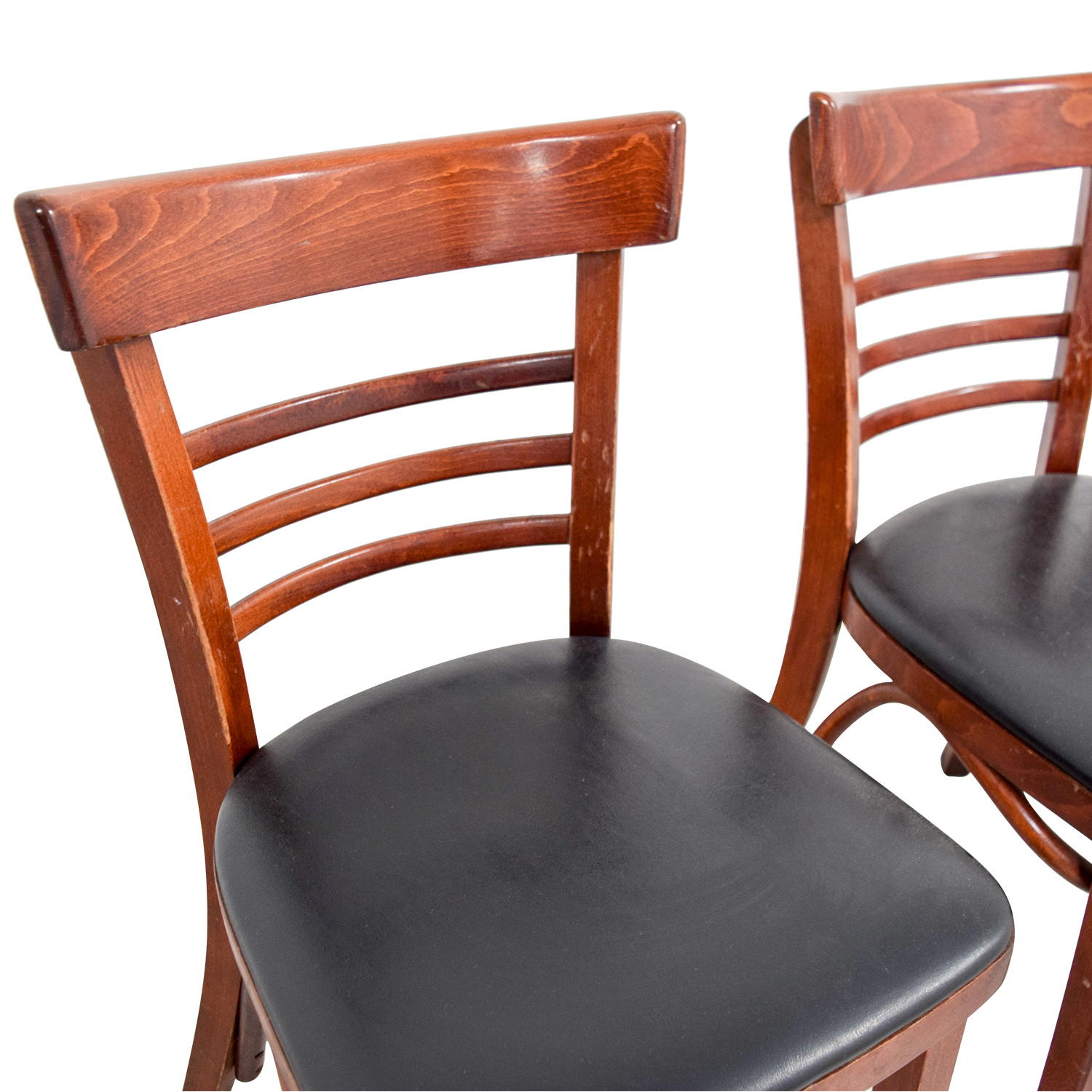 OFF Wood and Black Leather Upholstered Chairs Chairs
