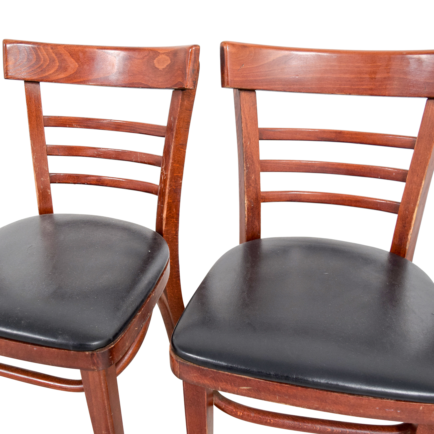 Wood and Black Leather Upholstered Chairs nj