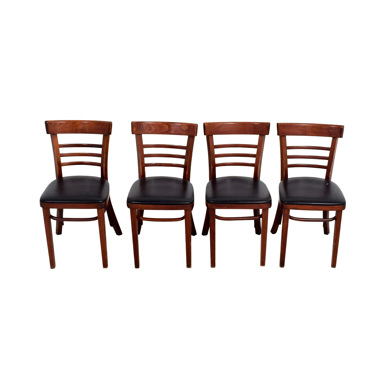 Wood and Black Leather Upholstered Chairs Chairs