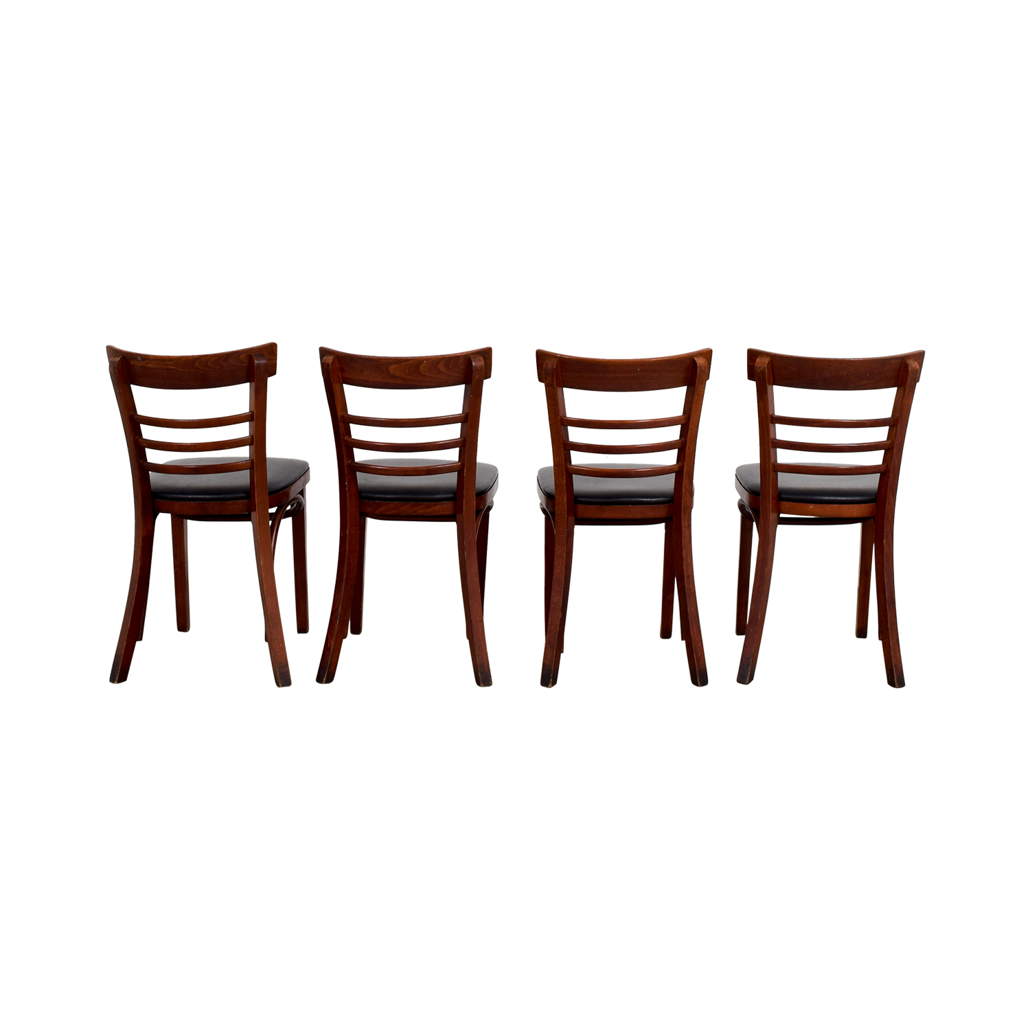 Wood and Black Leather Upholstered Chairs / Dining Chairs