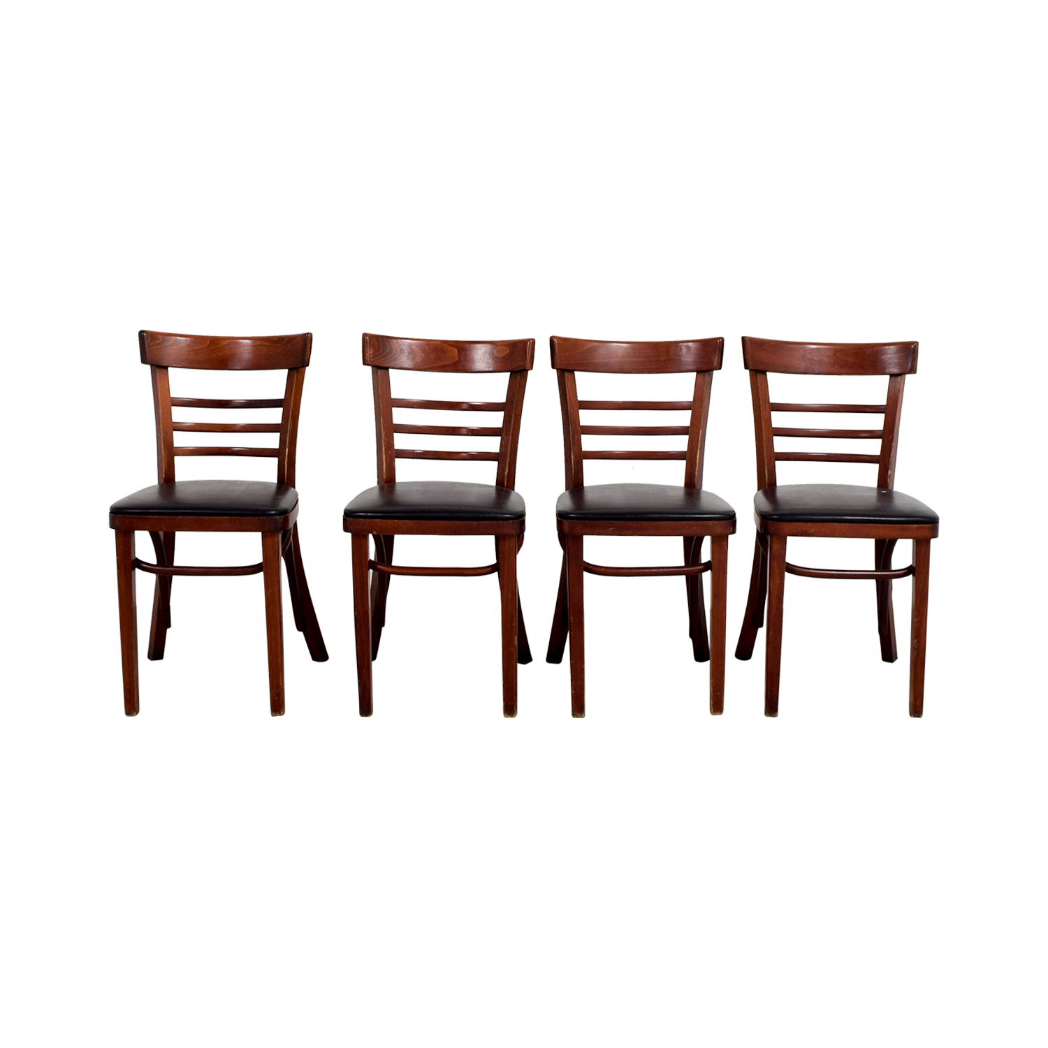 shop Wood and Black Leather Upholstered Chairs Chairs