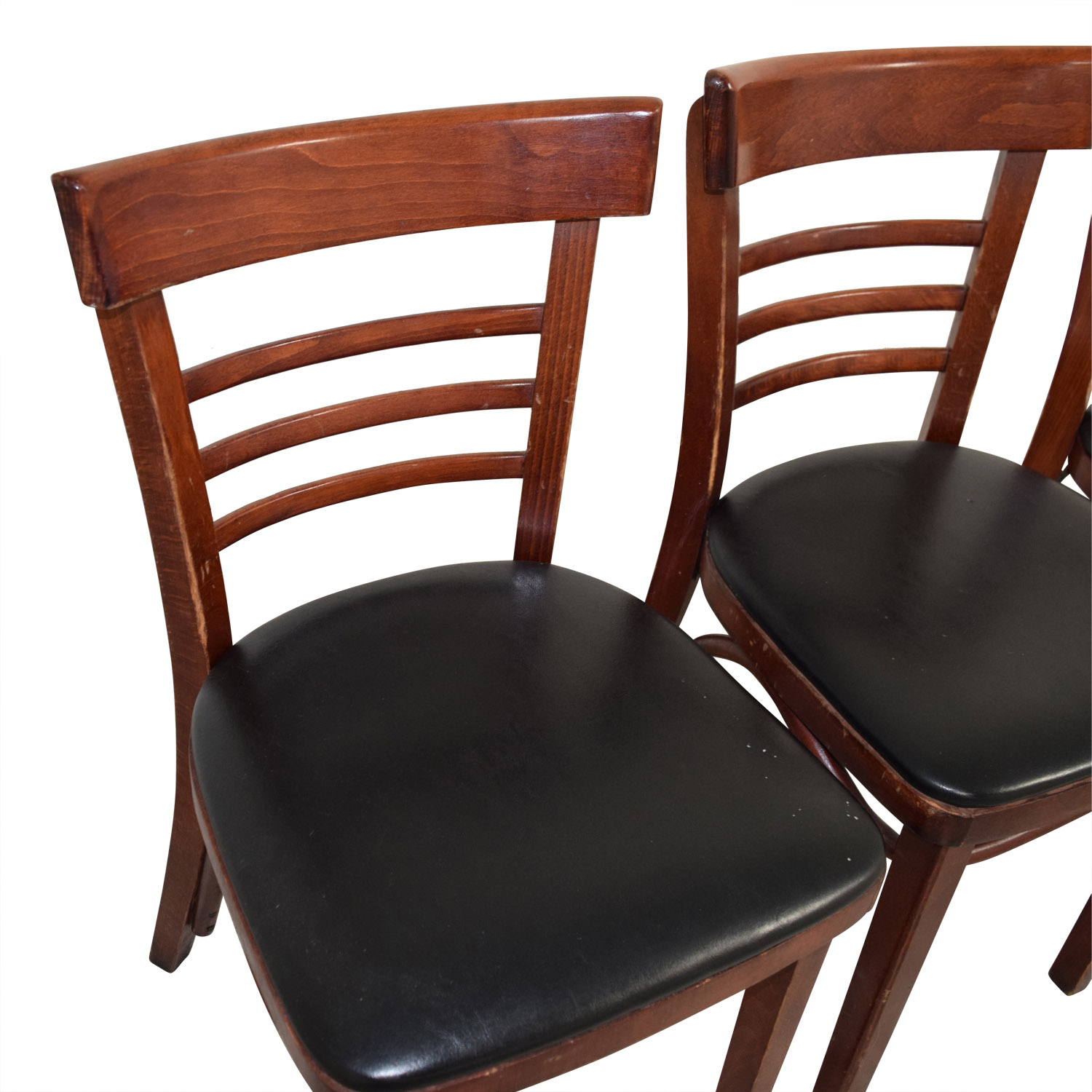 Wood and Black Leather Upholstered Chairs price