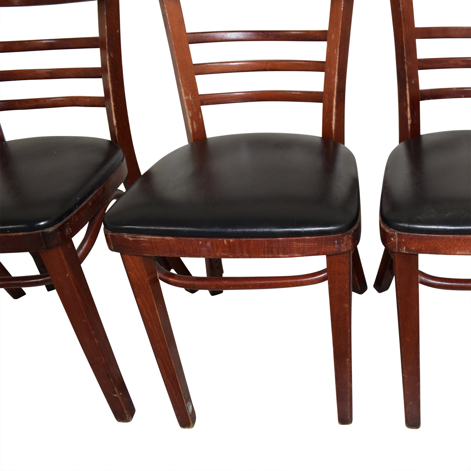 Wood and Black Leather Upholstered Chairs nyc