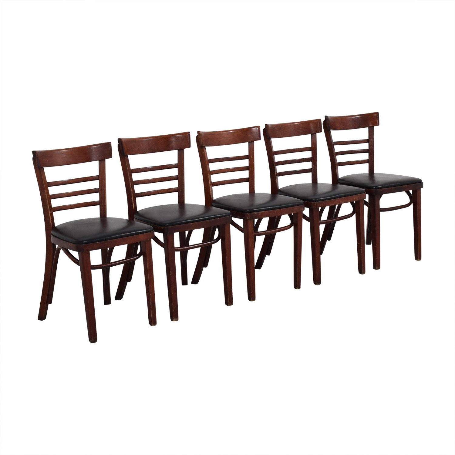 Wood and Black Leather Upholstered Chairs / Chairs