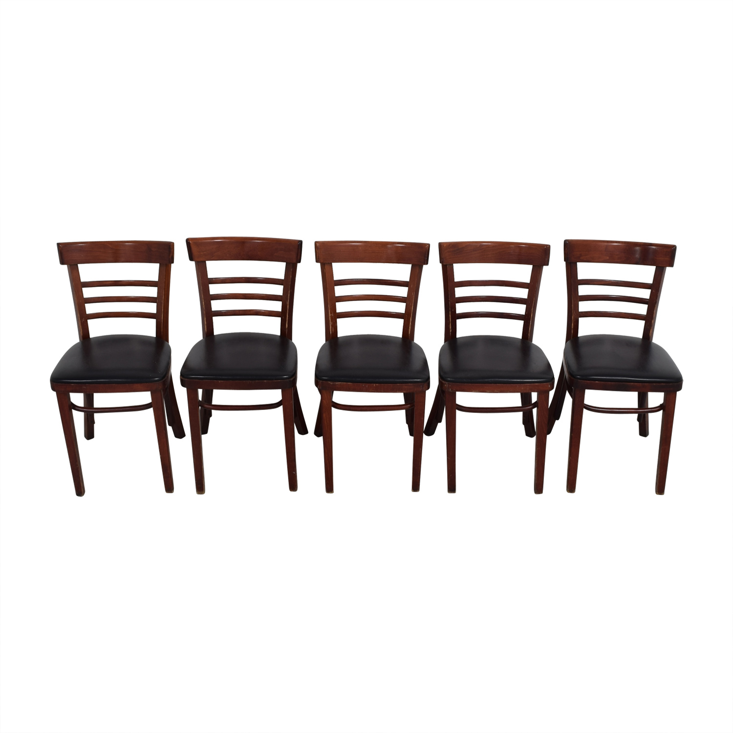Wood and Black Leather Upholstered Chairs Dining Chairs