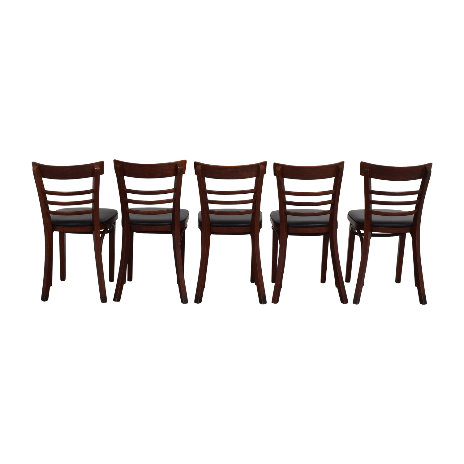 Wood and Black Leather Upholstered Chairs discount