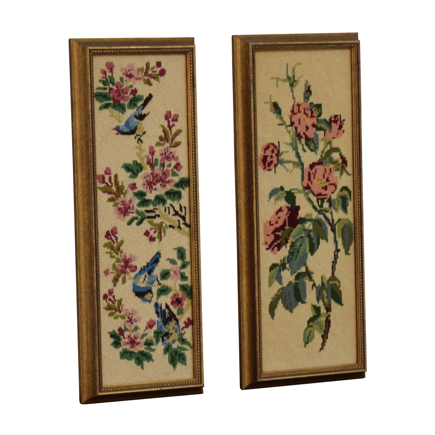 Pair of Floral Needlepoints for sale