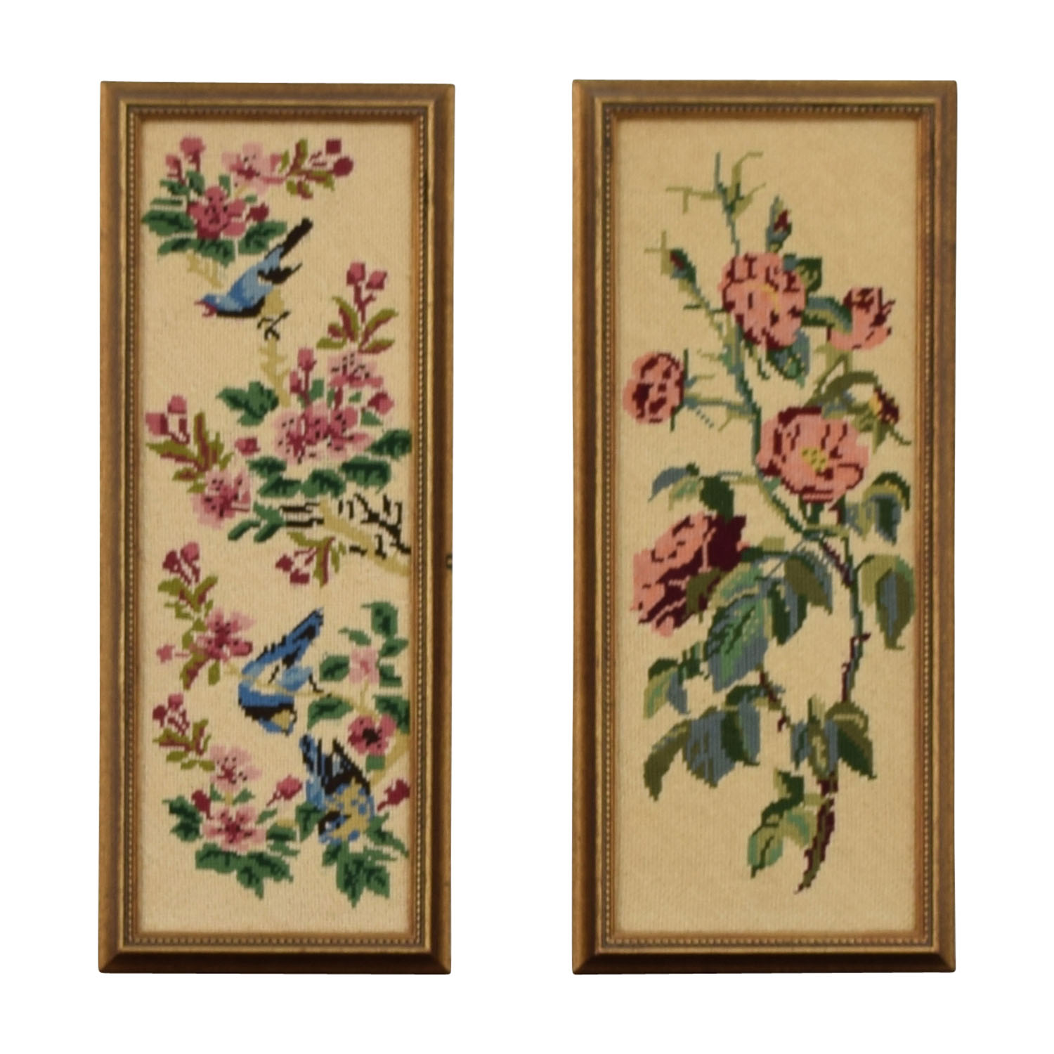 Pair of Floral Needlepoints Decor