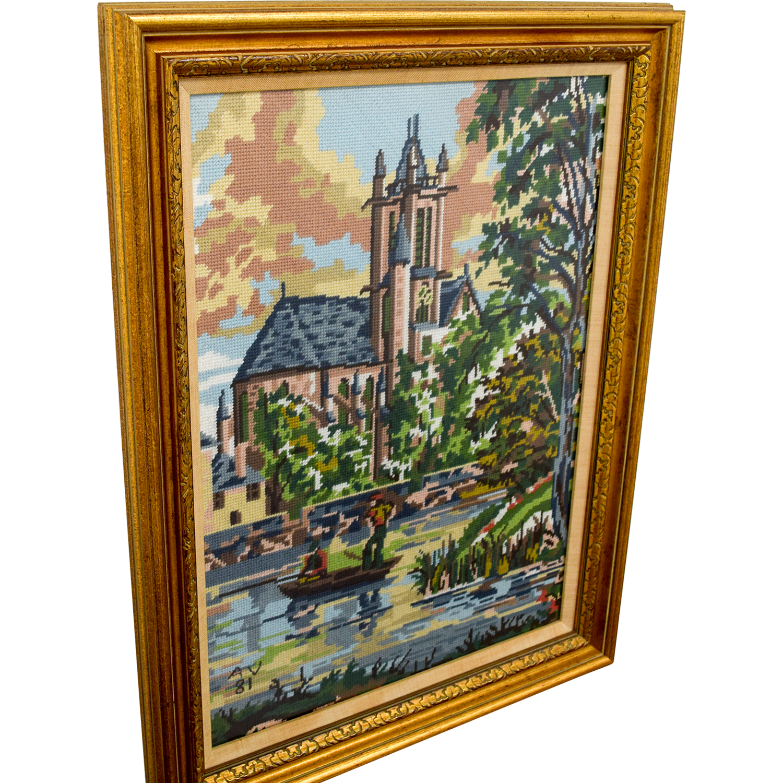 Framed Scenic Framed Needlepoint Art for sale