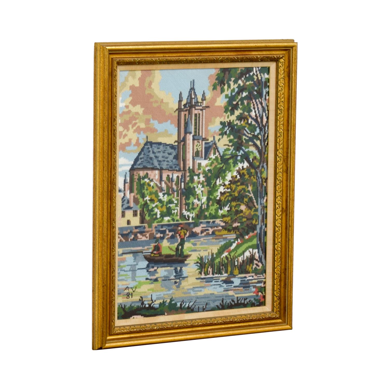 Framed Scenic Framed Needlepoint Art on sale