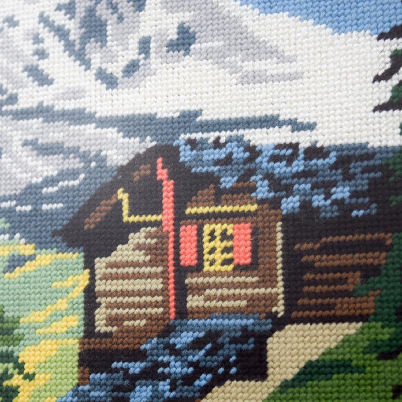 Framed Switzerland Scenic Mountain Needlepoint nj