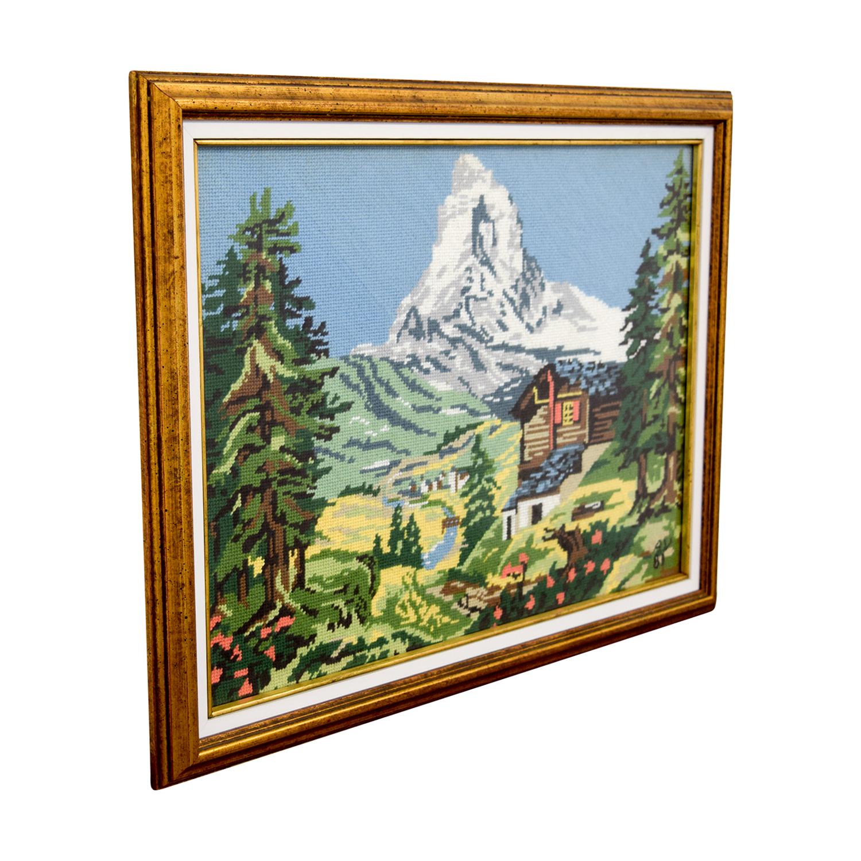 Framed Switzerland Scenic Mountain Needlepoint nyc