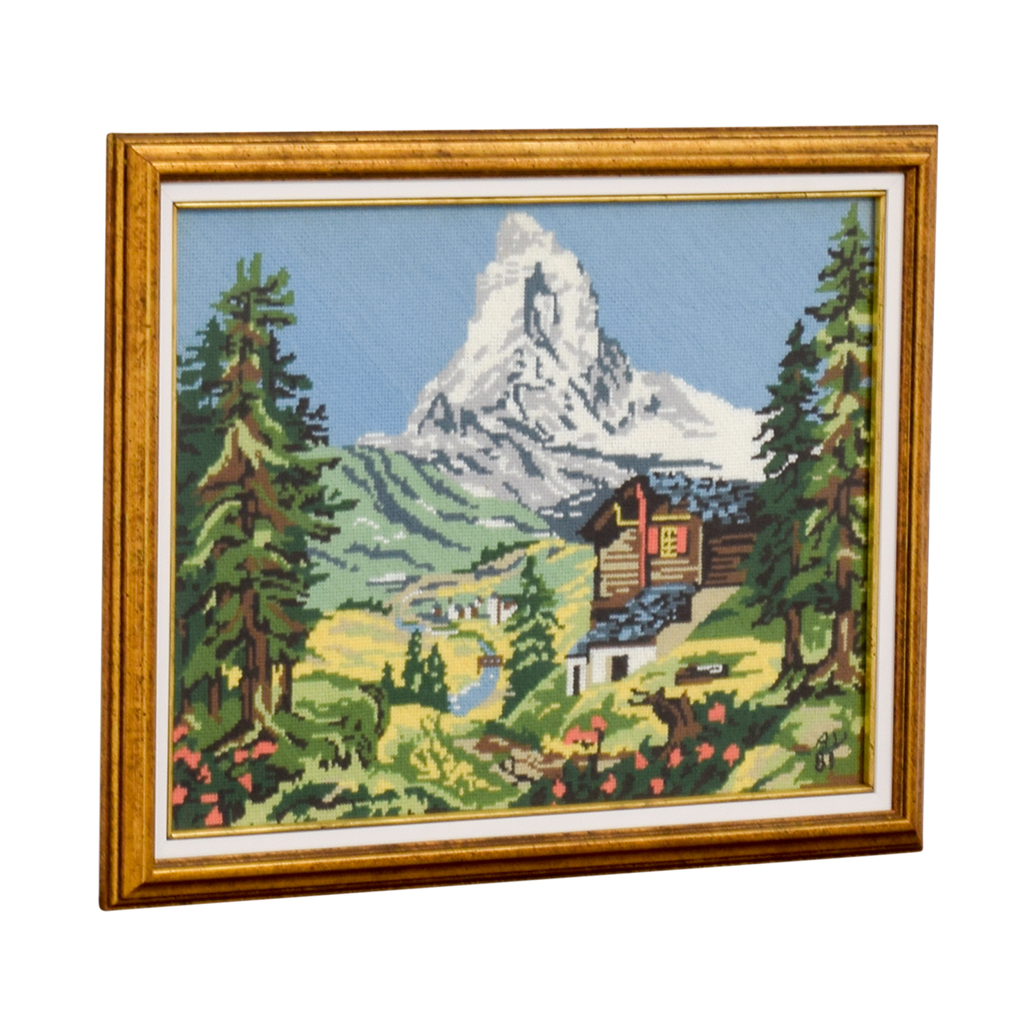 Framed Switzerland Scenic Mountain Needlepoint second hand