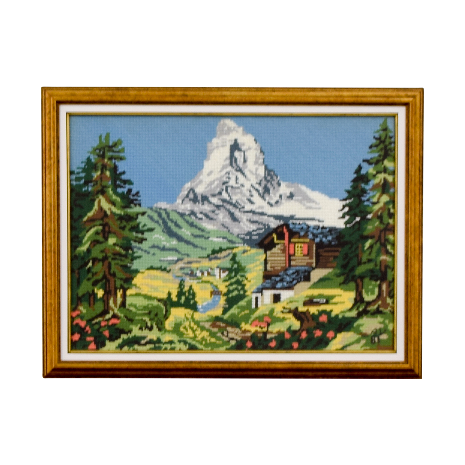 Framed Switzerland Scenic Mountain Needlepoint discount
