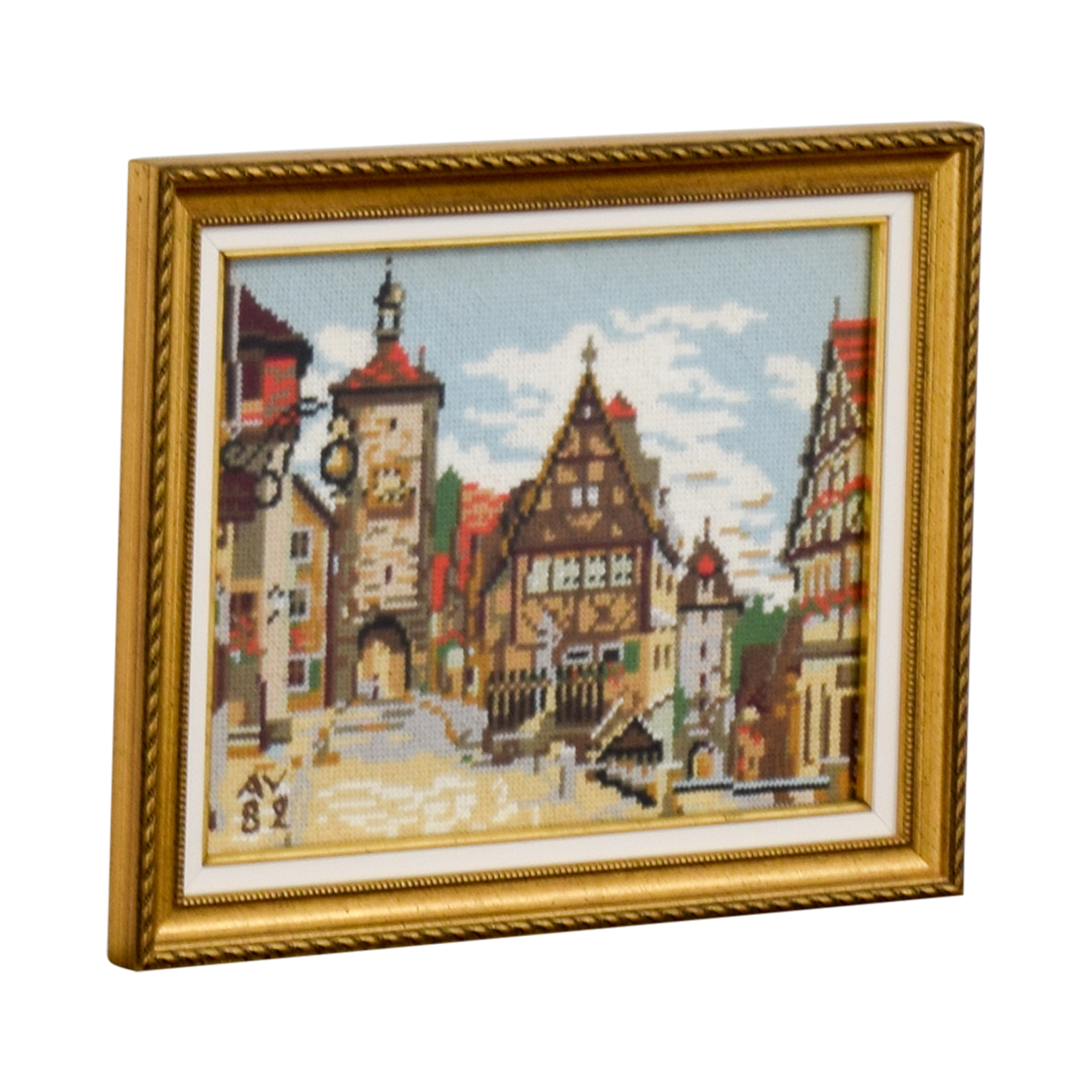 Framed Switzerland Country Village Needlepoint dimensions