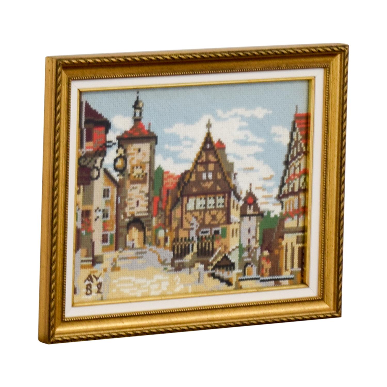 Framed Switzerland Country Village Needlepoint