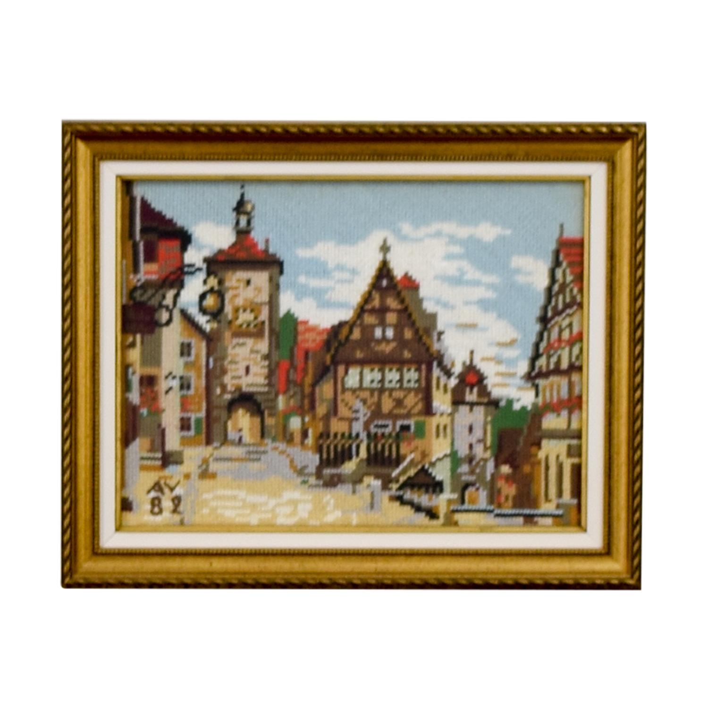 Framed Switzerland Country Village Needlepoint used