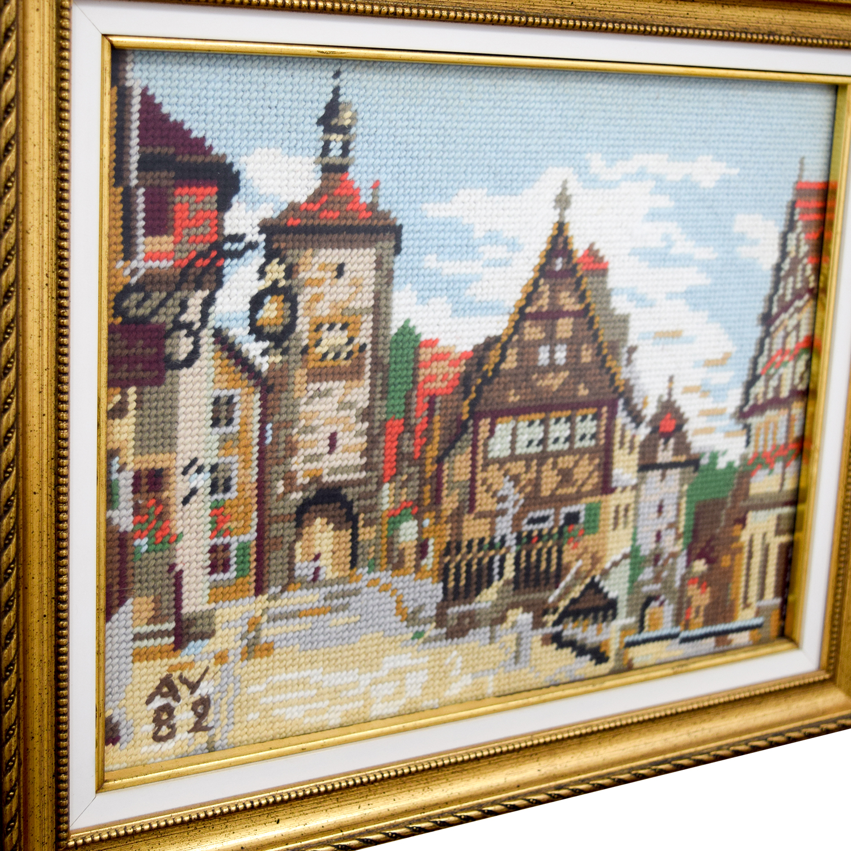 Framed Switzerland Country Village Needlepoint / Decor
