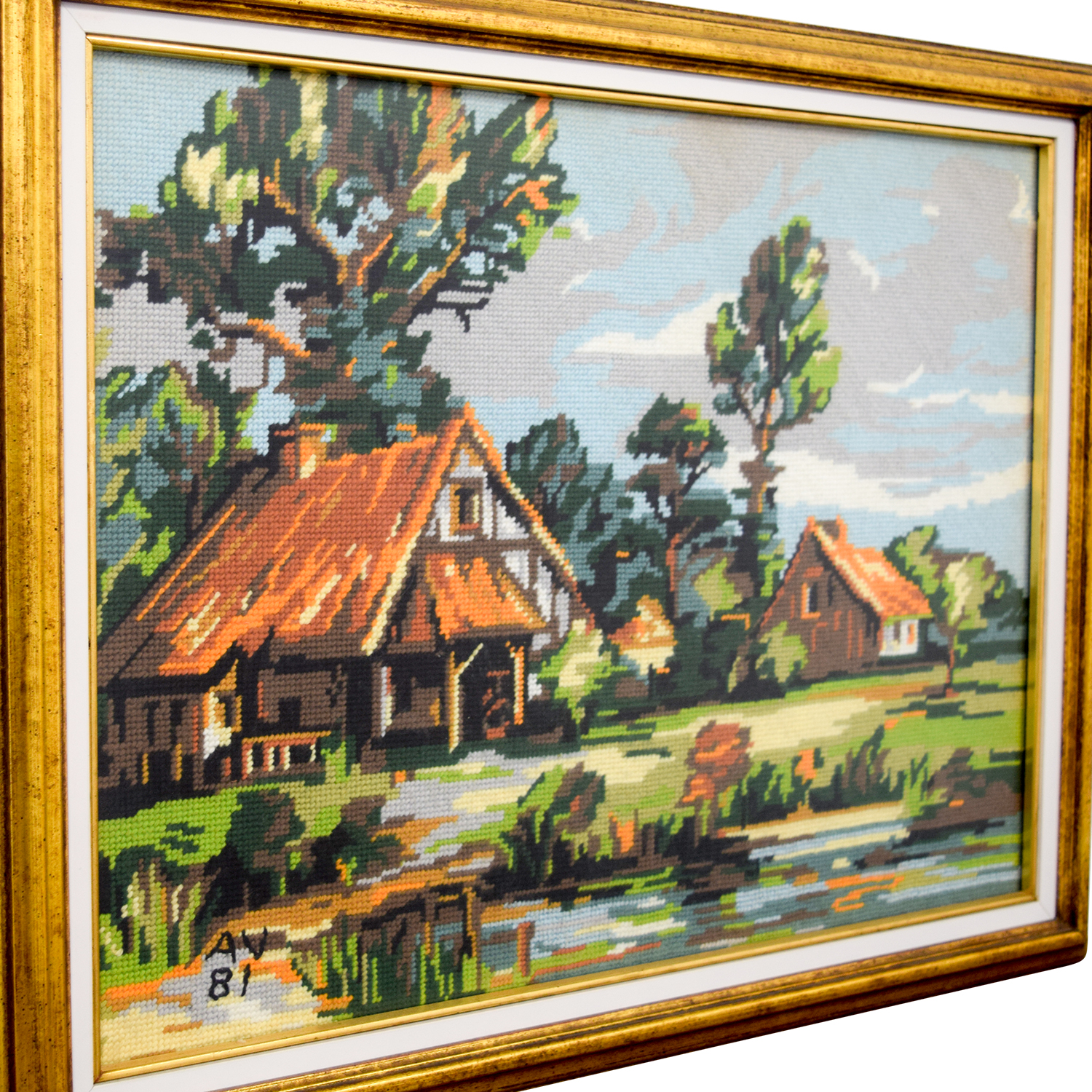 Framed Scenic Cottage Lake Needlepoint / Wall Art